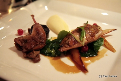Roasted partridge, smoked mashed potatoes, caramelised salsify, redcurrant jus