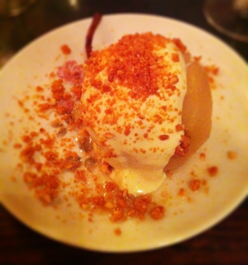 Pear with hazelnuts
